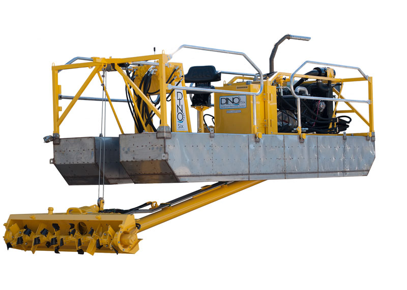 yellow dino6 dredging machine on a white background